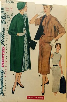"""Vintage 4604 Simplicity (1950s)  """"Simple to Make"""" Pattern by ThePatternParlor on Etsy"""