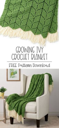 Yarnspirations is the spot to find countless free intermediate crochet patterns, including the Bernat Growing Ivy Crochet Blanket. Browse our large free collection of patterns & get crafting today! Easy Knitting Projects, Easy Knitting Patterns, Crochet Projects, Crochet Patterns, Free Crochet Blanket Patterns Easy, Knitting Beginners, Afghan Patterns, Knitting Ideas, Manta Crochet