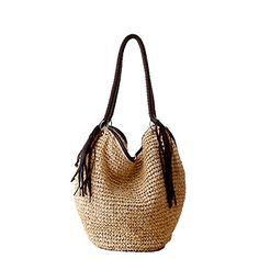 Gspstyle Women Straw Shoulder Bag Purse Weave Beach Bags Style Colour Beige