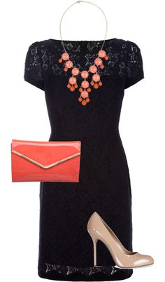 Fall wedding outfit navy/coral