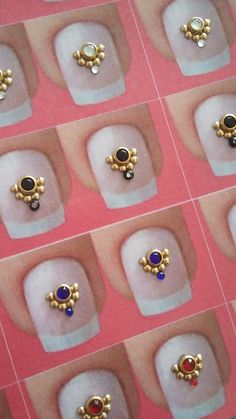 Kit contendo 50 cartelas de joias de unha  Cada cartela contém 1 par Nail Jewels, Gem Nails, Fall Acrylic Nails, Luxury Nails, Crystal Nails, Elegant Nails, Swarovski, Nail Art Diy, Nail Tutorials