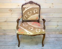 Dusty Rose and Driftwood Vintage Suzani Upholstered by chezboheme on etsy