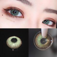 Korean Makeup Look, Asian Eye Makeup, Glam Makeup Look, Korean Contact Lenses, Colored Eye Contact Lenses, Eye Lens Colour, Eye Color, Green Colored Contacts, Cosplay Contacts