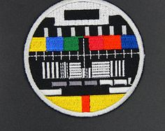 8a9fe657bca Retro TV Test Pattern Television Kitsch Apparel Movie Hat patches  Embroidered Iron on sew on patches