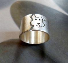 Perro anillo, anillo de plata esterlina, anillo de banda ancha, joyas de orfebrería, reservada