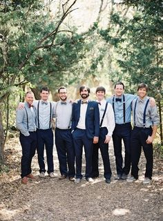 groom, outfit, style, wedding, fashion, look book, suit, blue suit, bow tie, groomsmen, suspenders, dress shoes