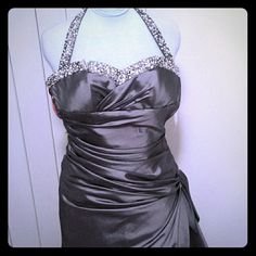 Brand new charcoal formal gown Beaded halter style number p4372 has some marks but not noticeable and missing gathered bead on bottom priced accordingly Maggie Sottero  Dresses