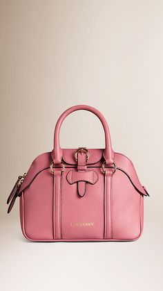 Mauve pink Small Leather Bowling Bag - Image 1