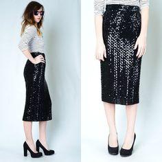 Vintage 80s Sequin High Waist Party Pencil Skirt Trophy Glam Dress Black #vintage #ebay #fashion #style @Francine (Narcisco) Stefanoff