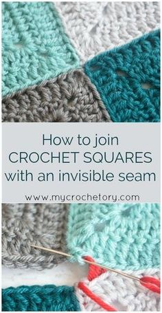 How to join crochet motifs and squares with an invisible seam. Mattress  Stitch corner to 85c08af63b4c5