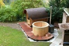 Sauna and hot tub Outdoor Sauna, Outdoor Baths, Outdoor Decor, Barrel Sauna, Diy Gazebo, Hot Tub Garden, Sauna Room, Jacuzzi, Back Patio