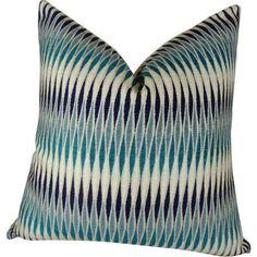 Plutus Thames River Cobalt HandmadeThrow Pillow, Multicolor