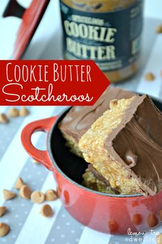 Cookie Butter Scotcheroos from www.lemontreedwelling.com. Could swap out peanut butter chips for butterscotch or just use chocolate, thus making them egg/nut free.