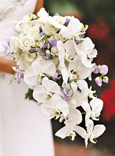 Brides Magazine: How Much Do Wedding Bouquets Cost?  Bouquet of phalaenopsis orchids, purple sweet peas, and white spray roses    $200, by TableArt, Philadelphia