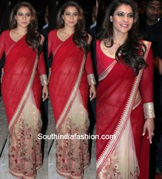 Kajol attended the Star Dust awards 2016 in a red saree by Sabyasachi Mukherjee. She looked radiant! Mode Bollywood, Indian Bollywood Actress, Bollywood Fashion, Kajol Saree, Sabyasachi Sarees, Sari Design, Blouse Designs High Neck, Saree Blouse Designs, Blouse Patterns