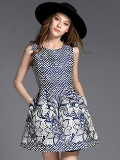 Shop White Chevron And Floral Sleeveless Jacquard Skater Dress from choies.com .Free shipping Worldwide.$23.11