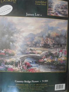 """Candamar Designs COUNTRY BRIDGE PICTURE Embellished Cross Stitch Kit  12"""" x 9"""" #Dimensions"""