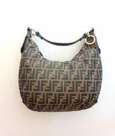 17bb4fd571 Preowned Authentic FENDI Zucca FF Monogram Canvas Shoulder Hobo Bag Handbag