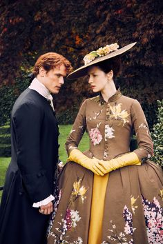 Sam Heughan as Jamie Fraser and Caitriona Balfe as Claire Fraser in Outlander (TV Series, 2016). [x]