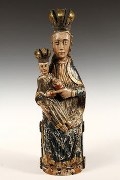 """Polychrome wood statue of Madonna and Christ enthroned """"Sedes Sapientiae"""" in Romanesque style with later brass crown, France 16th-17th Cent."""