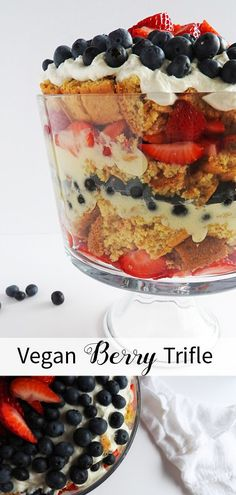 Vegan Berry Trifle - This recipe is packed with layers of fresh berries, cake, cream cheese icing, and coconut whipped cream. Fantastic for summer and the of July! Vegan Dessert Recipes, Delicious Vegan Recipes, Whole Food Recipes, Vegan Trifle Recipe, Vegan Treats, Vegan Foods, Healthy Treats, Healthy Food, Low Carb Vegan Breakfast