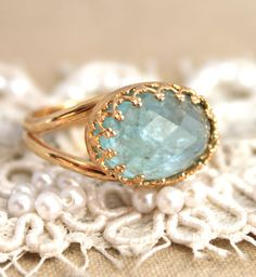 Mint Aquamarine gemstone ring