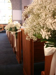 Ceremony Flowers Portfolio | Rose's Bouquets - A Weddings Only Florist  - babies breath for the pews