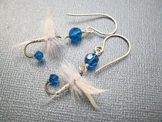 Fly Fishing Lure Earrings - Blue and White Feather Earrings Upcycled - Female Fishing Lure Earrings in Sterling Silver for Ladies and Girls Fish Hook Earrings, Feather Earrings, Beaded Earrings, Drop Earrings, Fly Fishing Lures, Fishing Tips, Fishing Stuff, Fly Fishing Basics, Blue And White Earrings