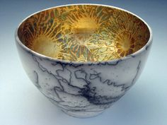 Cathie Cantara - Horsehair raku - interior gilded with variegated metal leaf. One of the most beautiful matcha bowls I've ever seen