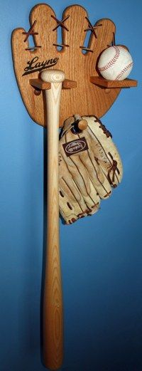Baseball rack for holding a bat, baseball and glove. So great for kids room