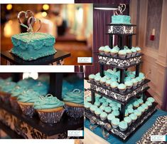 Cupcake tower with a mini cutting cake for pictures. If the top cake is big enough, it could be served to the head table or saved in the freezer for future anniversaries! Blue Cupcakes, Wedding Cakes With Cupcakes, Amazing Wedding Cakes, Amazing Cakes, Mini Cakes, Cupcake Cakes, Cup Cakes, Wedding Crafts, Wedding Ideas