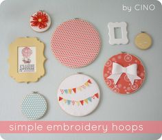 embroidery hoops mixed with picture frames