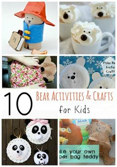 10 Fun Bear Crafts and Activities for Kids Cute Kids Crafts, Fun Arts And Crafts, Easy Diy Crafts, Children Crafts, Kids Diy, Panda Bear Crafts, Teddy Bear Crafts, Outdoor Activities For Kids, Fun Activities