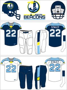 At last (after far too long figuring out how to post pictures again. Here are the 1997 USFL Boston Beacons. College Football Uniforms, Nfl Football Helmets, Sports Uniforms, Wvu Sports, Sports Team Logos, Sports Decals, Custom Football, Cool Logo, Nike