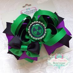 """Incredible Hulk (Dr. Bruce Banner)- Marvel Avengers Movie Inspired 4.5"""" Boutique Hair Bow with Bottle Cap on a French Barrette on Etsy, $10.99"""