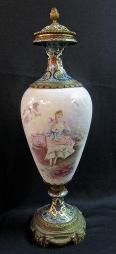 Sevres Vase Porcelain Bronze Enamel
