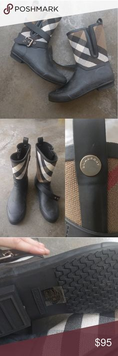 Burberry classic short black tartan rain bootie 9 Lowest! Pls read! This gorgeous set came from my aunt in NYC since LA is having some serious rain and she never wore them (see sole pics). They are from last year did not come w a box, authentic. I'm a 9.5 and with a sock these are too tight*** One of the straps was missing/fell off when I got them, she checked and cannot find it/suggested high-end tailor can source a similar one . They are sold AS IS and the price is the LOWEST. The low…