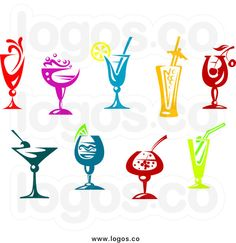 Royalty Free Clip Art Vector Logos of Colorful Cocktails