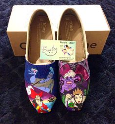 Disney Villains **Toe Only** Hand Painted Toms/Vans/Converse Ursula Captain Hook Evil Queen Hades by ShoesBySmiley on Etsy