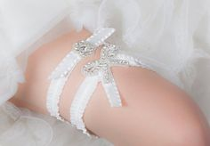 Bridal Garter Set  - Wedding Garter with Crystal Bow