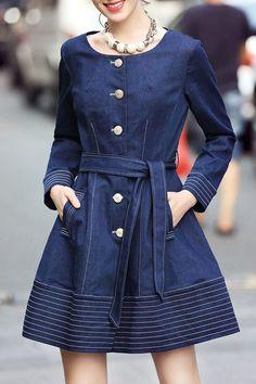 Huameisu Purplish Blue Mini Button Up A Line Denim Dress | Mini Dresses at  DEZZAL