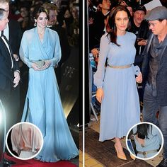 The Duchess of Cambridge and Angelina Jolie  Both Kate and Angelina have elegant dressing down to an art form, something they both achieved in light-blue chiffon gowns with cinched waists and keyhole detailing in the back. Kate slid hers on for the London premiere of 'Spectre', while the mother of six screened her most recent film 'By The Sea' in New York.   Photo: Getty Images