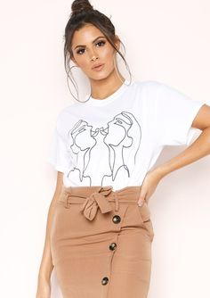 9d30027f Missyempire - Levi White Kissing Faces Graphic T-Shirt Kissing, Trousers,  Pants,