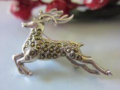 Vintage brooch, marcasite deer brooch, reindeer brooch, christmas gift marcasite stag brooch sliver metal pin