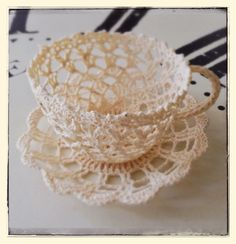 Vintage Teacup and Saucer Crochet Lace by PaperplaneC on Etsy