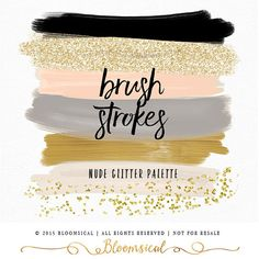 Confetti Brush Strokes Clip Art | Hand Painted Nude Earth Natural Gold Glitter Acrylic Graphic Elements | Digital Design Resource
