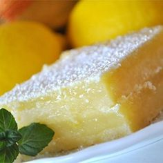 Lemon Pie Bars Allrecipes.com -make dairy free with a butter substitute.