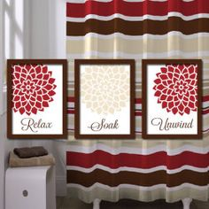 Red Beige Bathroom Wall Art Artwork Relax Soak Unwind Ivory Brown Dahlia  Flower Set Of 3