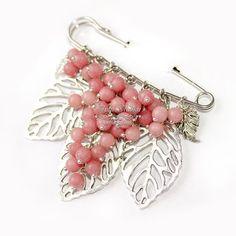 Брошь булавка Соблазн - крупная брошка с розовым нефритом