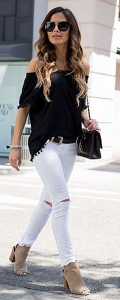 #spring #summer #street #style #inspiration | Black And White + Pop Of Nude